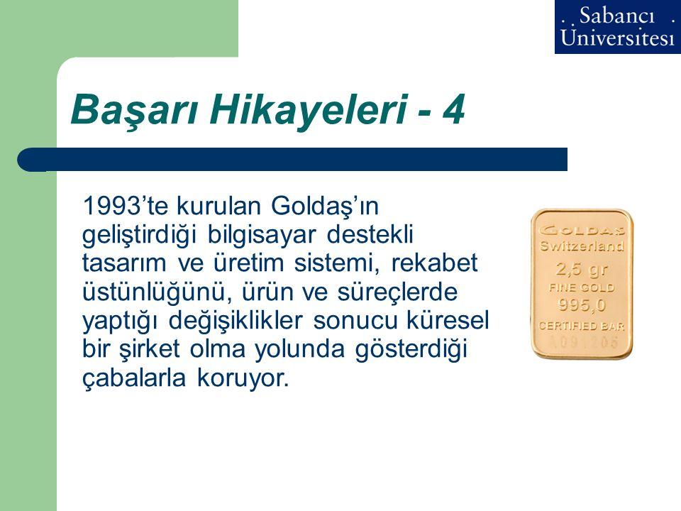 Başarı Hikayeleri - 4 1993'te kurulan Goldaş'ın geliştirdiği bilgisayar destekli tasarım ve üretim sistemi, rekabet üstünlüğünü, ürün ve süreçlerde ya