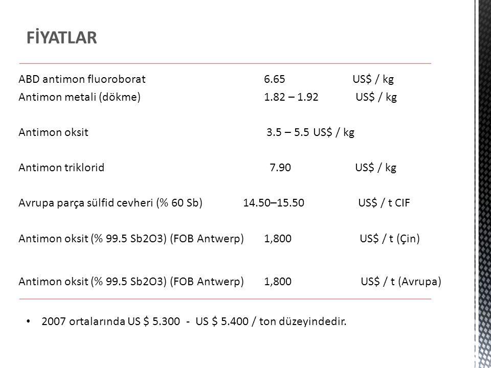 FİYATLAR ABD antimon fluoroborat 6.65 US$ / kg Antimon metali (dökme) 1.82 – 1.92 US$ / kg Antimon oksit 3.5 – 5.5 US$ / kg Antimon triklorid 7.90 US$