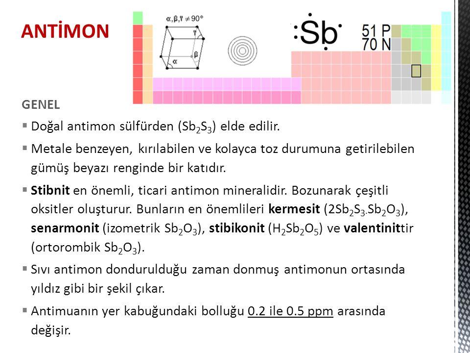 MineralleriKimyasal formül % SbRenkYoğunlukSertlik Nabit antimon Sb100.0Kalay beyazı 6.7 – 6.83 – 3.5 stibnitSb2S371.1Kurşun grisi4.52 – 4.622