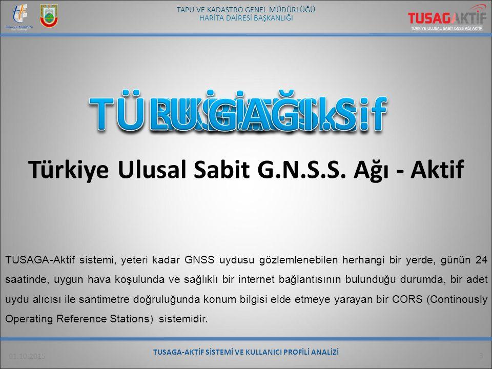 HARİTA DAİRESİ BAŞKANLIĞI TAPU VE KADASTRO GENEL MÜDÜRLÜĞÜ 01.10.2015 TUSAGA-AKTİF SİSTEMİ VE KULLANICI PROFİLİ ANALİZİ 4 TUSAGA-Aktif sisteminde ise; Türkiye geneline homojen olarak dağılmış 146 adet sabit istasyon24 saat gözlem yaparak verileri sürekli olarak bir kontrol merkezine aktarmakta, istasyonların konumları ve atmosferik düzeltmeler bu kontrol merkezinde hesaplanmakta ve dolayısıyla atmosfer ve konum düzeltmeleri tüm Türkiye için yapılabilmektedir.
