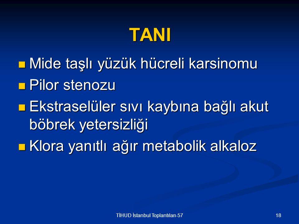 18TİHUD İstanbul Toplantıları-57 TANI Mide taşlı yüzük hücreli karsinomu Mide taşlı yüzük hücreli karsinomu Pilor stenozu Pilor stenozu Ekstraselüler