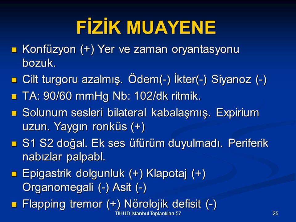 25TİHUD İstanbul Toplantıları-57 FİZİK MUAYENE Konfüzyon (+) Yer ve zaman oryantasyonu bozuk. Konfüzyon (+) Yer ve zaman oryantasyonu bozuk. Cilt turg