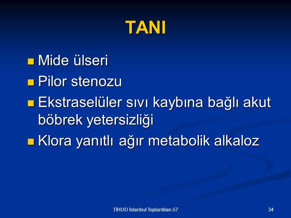 34TİHUD İstanbul Toplantıları-57 TANI Mide ülseri Mide ülseri Pilor stenozu Pilor stenozu Ekstraselüler sıvı kaybına bağlı akut böbrek yetersizliği Ek