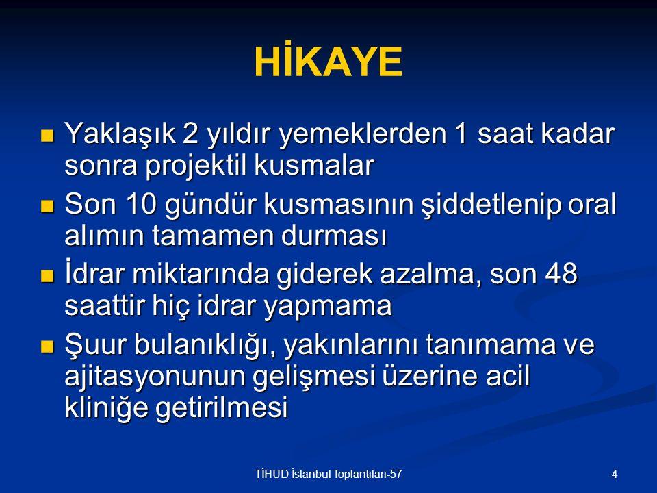 15TİHUD İstanbul Toplantıları-57 İDRAR TETKİKLERİ İdrar tahlili: İdrar tahlili: Dansite: 1005 pH: 9 Protein 100 mg/dl Glukoz, keton, bilirubin, ürobilinojen (-) Mikroskopi: Bol eritrosit (Foley sonda) 24 saatlik idrar tetkiki: 24 saatlik idrar tetkiki: Kreatinin klirensi: 14 ml/dk Klor: 56 mmol/gün (N: 110-250 mmol/gün) Protein: 245 mg/gün