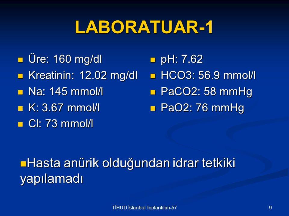 30TİHUD İstanbul Toplantıları-57 İDRAR TETKİKLERİ İdrar tahlili: İdrar tahlili: Dansite: 1015 pH: 8 Protein 15 mg/dl Glukoz, keton, bilirubin, ürobilinojen (-) Mikroskopi: 7-8 lökosit, bol eritrosit 24 saatlik idrar tetkiki: 24 saatlik idrar tetkiki: Kreatinin klirensi: 13.02 ml/dk Protein: 290 mg/gün Cl: 70 mmol/gün (N: 110-250 mmol/gün)