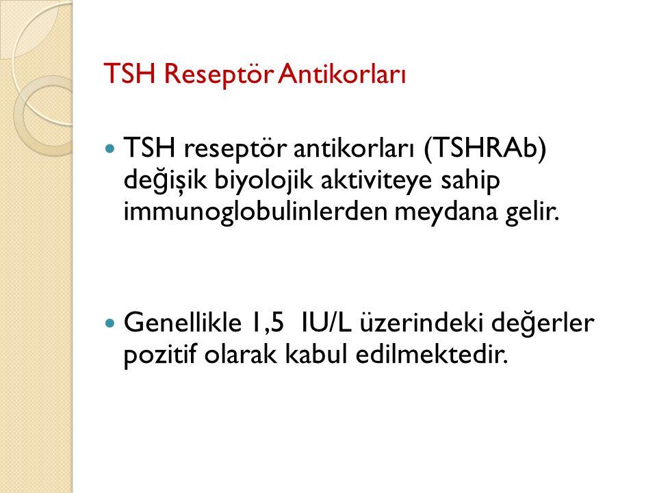 TSH Reseptör Antikorları TSH reseptör antikorları (TSHRAb) de ğ işik biyolojik aktiviteye sahip immunoglobulinlerden meydana gelir. Genellikle 1,5 IU/
