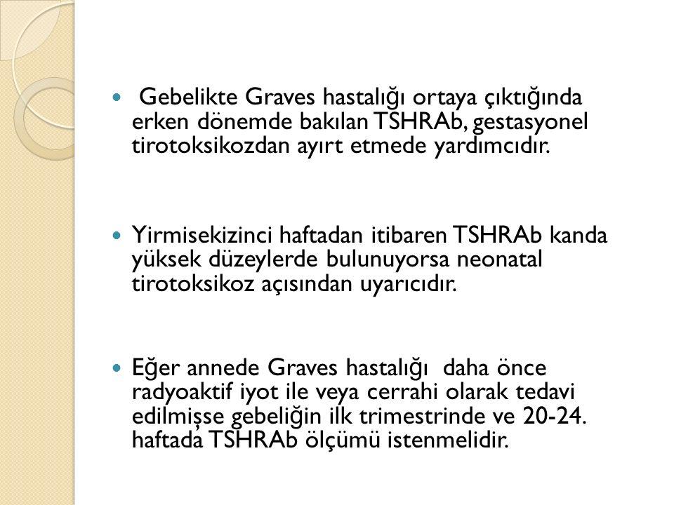 Gebelikte Graves hastalı ğ ı ortaya çıktı ğ ında erken dönemde bakılan TSHRAb, gestasyonel tirotoksikozdan ayırt etmede yardımcıdır. Yirmisekizinci ha