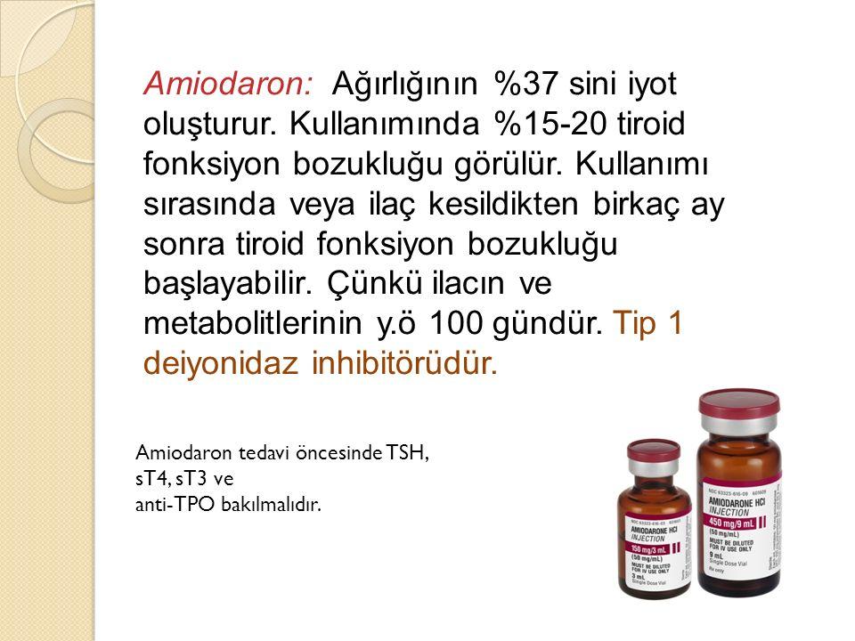 Amiodaron: Ağırlığının %37 sini iyot oluşturur. Kullanımında %15-20 tiroid fonksiyon bozukluğu görülür. Kullanımı sırasında veya ilaç kesildikten birk