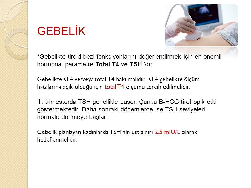 GEBELİK *Gebelikte tiroid bezi fonksiyonlarını değerlendirmek için en önemli hormonal parametre Total T4 ve TSH 'dır. Gebelikte sT4 ve/veya total T4 b
