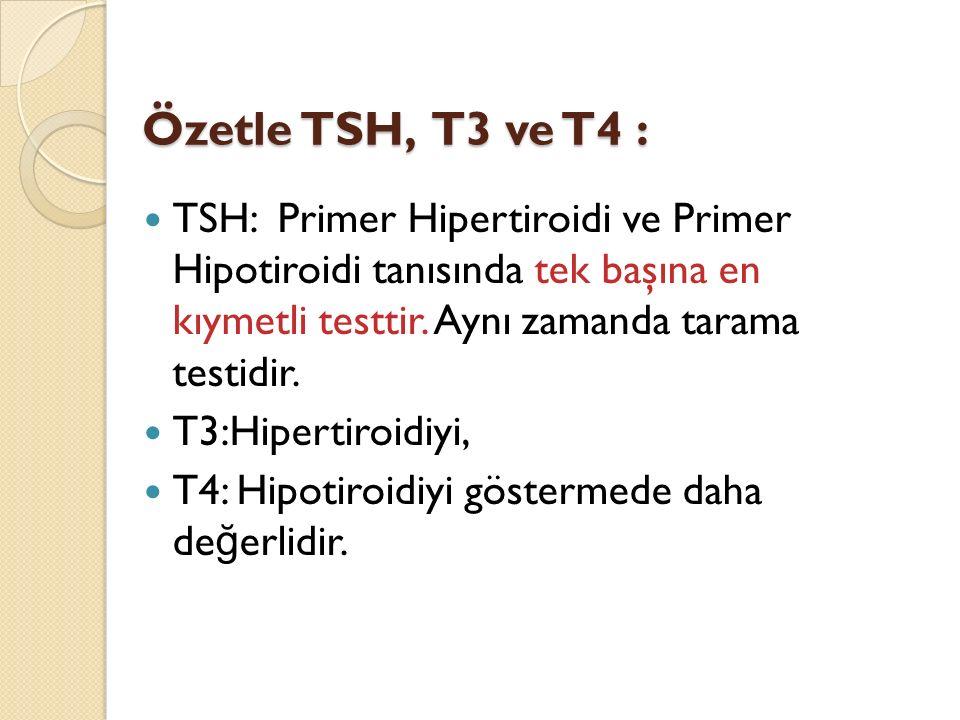 TSH: Primer Hipertiroidi ve Primer Hipotiroidi tanısında tek başına en kıymetli testtir. Aynı zamanda tarama testidir. T3:Hipertiroidiyi, T4: Hipotiro