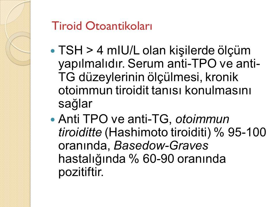 TSH > 4 mIU/L olan kişilerde ölçüm yapılmalıdır. Serum anti-TPO ve anti- TG düzeylerinin ölçülmesi, kronik otoimmun tiroidit tanısı konulmasını sağlar