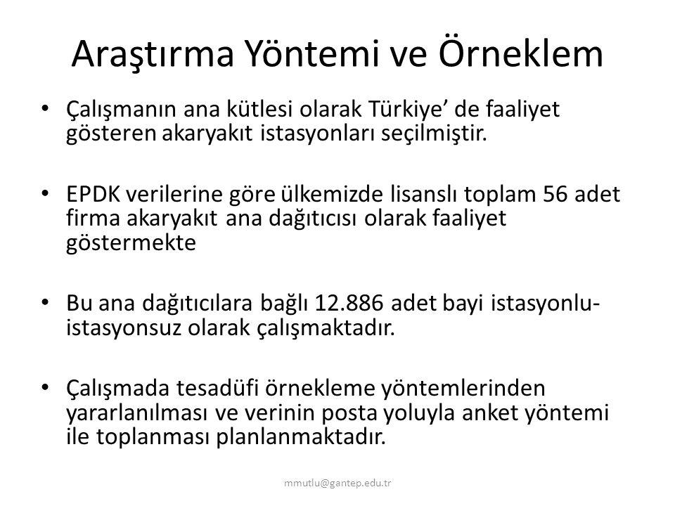Araştırma Yöntemi ve Örneklem Çalışmanın ana kütlesi olarak Türkiye' de faaliyet gösteren akaryakıt istasyonları seçilmiştir. EPDK verilerine göre ülk