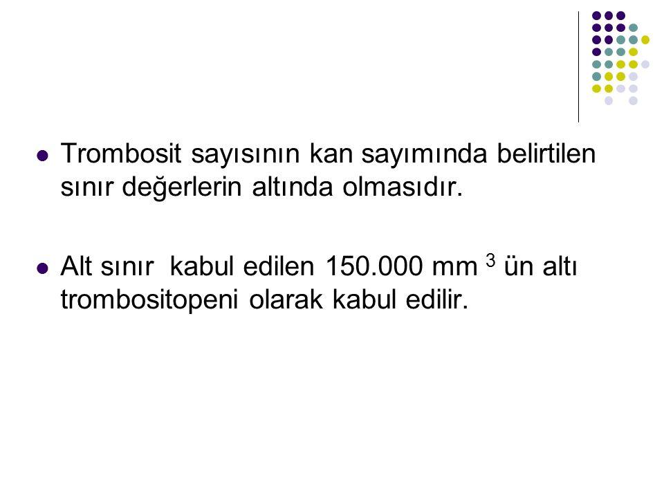 Trombosit sayısının kan sayımında belirtilen sınır değerlerin altında olmasıdır. Alt sınır kabul edilen 150.000 mm 3 ün altı trombositopeni olarak kab