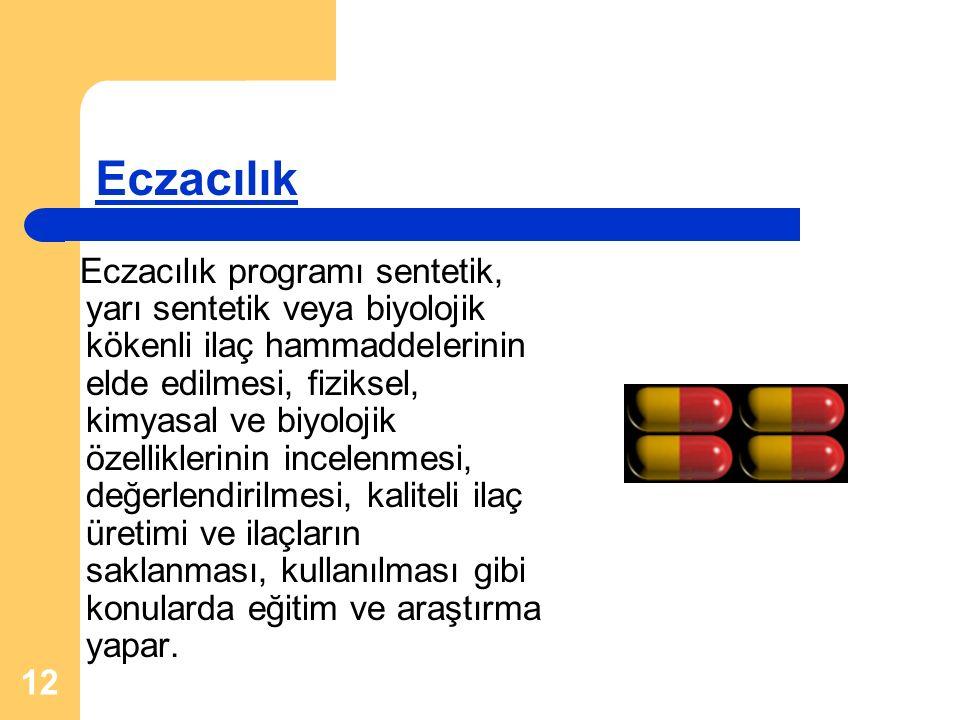 12 Eczacılık Eczacılık programı sentetik, yarı sentetik veya biyolojik kökenli ilaç hammaddelerinin elde edilmesi, fiziksel, kimyasal ve biyolojik öze