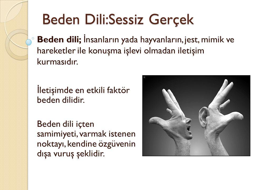 Beden Dili:Sessiz Gerçek Beden dili; İ nsanların yada hayvanların, jest, mimik ve hareketler ile konuşma işlevi olmadan iletişim kurmasıdır.