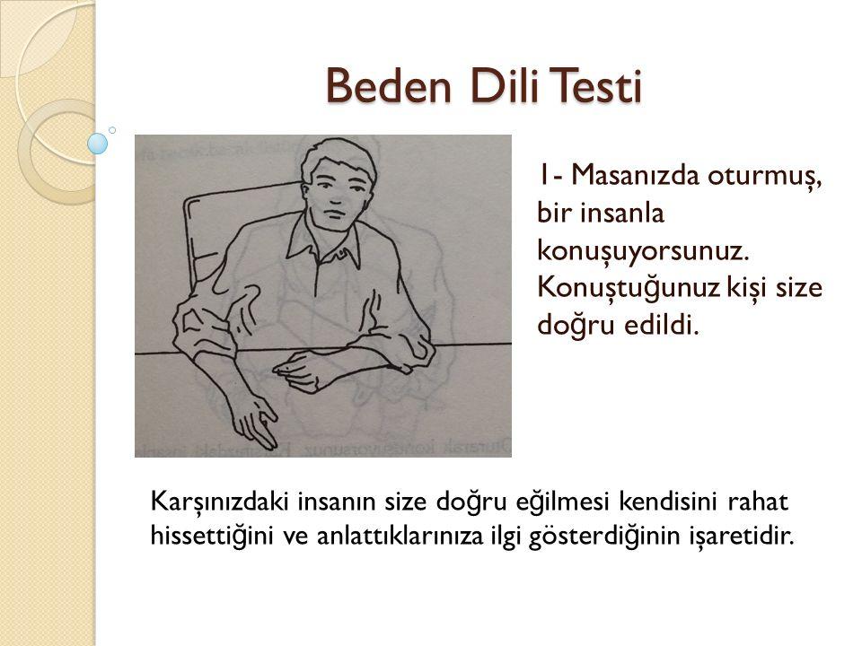 Beden Dili Testi 1- Masanızda oturmuş, bir insanla konuşuyorsunuz.