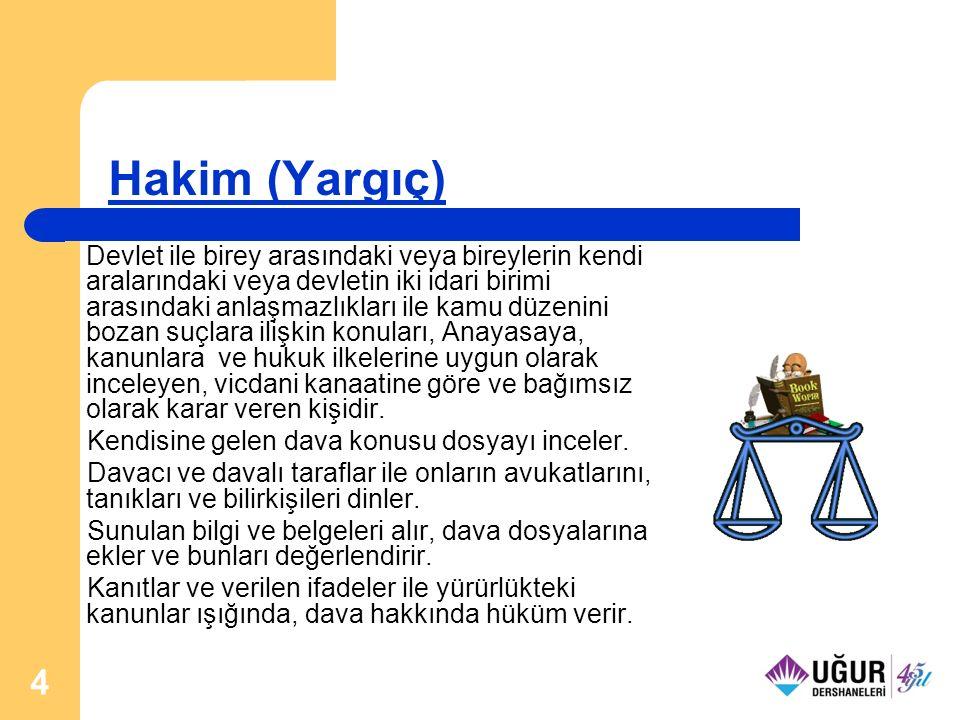 5 Avukatlık Bireylerin birbirleriyle ve devletle ilişkilerinde ortaya çıkan anlaşmazlıklarda hukuki bilgisine başvurulan ve bireyleri ilgili yerlerde, özellikle mahkemelerde temsil eden ve haklarını savunan kişidir.