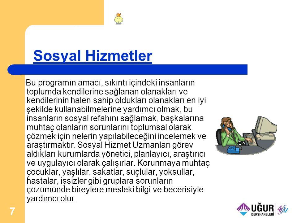 18 Sosyoloji Sosyoloji programının amacı, toplumsal kurumlar, bunların kökeni, gelişmesi, işlevi ve birbirleri ile ilişkileri konusunda çalışacak elemanları yetiştirmek ve araştırma yapmaktır.