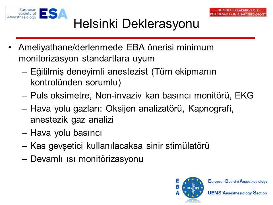 Helsinki Deklerasyonu Ameliyathane/derlenmede EBA önerisi minimum monitorizasyon standartlara uyum –Eğitilmiş deneyimli anestezist (Tüm ekipmanın kontrolünden sorumlu) –Puls oksimetre, Non-invaziv kan basıncı monitörü, EKG –Hava yolu gazları: Oksijen analizatörü, Kapnografi, anestezik gaz analizi –Hava yolu basıncı –Kas gevşetici kullanılacaksa sinir stimülatörü –Devamlı ısı monitörizasyonu
