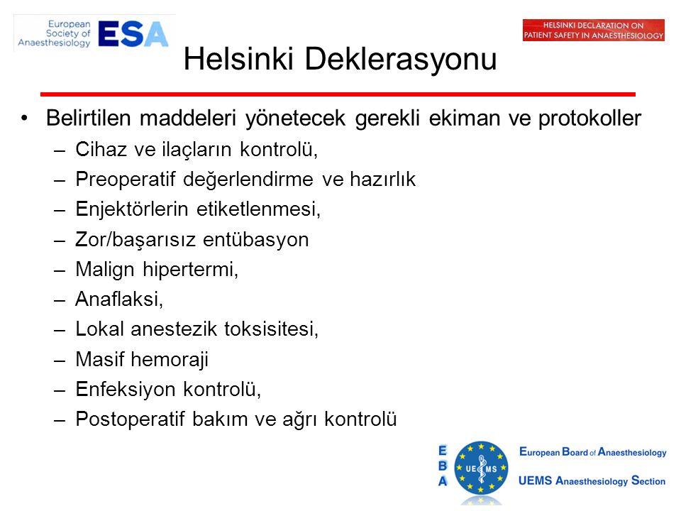 Helsinki Deklerasyonu Belirtilen maddeleri yönetecek gerekli ekiman ve protokoller –Cihaz ve ilaçların kontrolü, –Preoperatif değerlendirme ve hazırlık –Enjektörlerin etiketlenmesi, –Zor/başarısız entübasyon –Malign hipertermi, –Anaflaksi, –Lokal anestezik toksisitesi, –Masif hemoraji –Enfeksiyon kontrolü, –Postoperatif bakım ve ağrı kontrolü