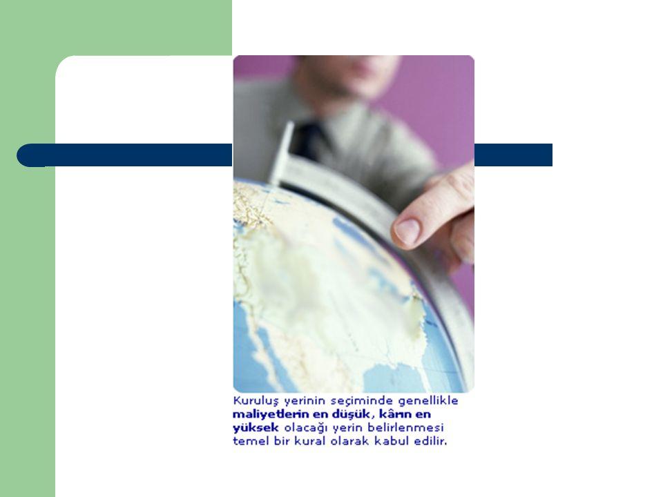 Kuruluş Yerinde Ülke Seçimi Önemli faktörler: – Yönetim sistemi ve politik şartlar – Vergi durumu – Yasal sistemler – Çevre – Uluslar arası çatışmalar – Hammadde kaynakları – İşgücü – Pazar şartları