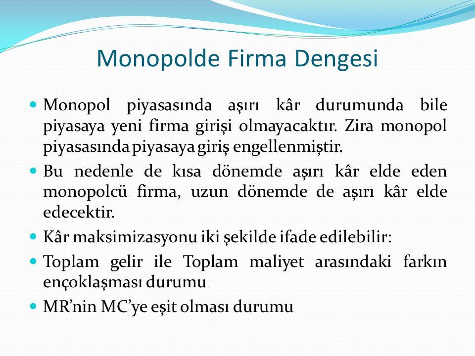 Monopolde Firma Dengesi Monopol piyasasında aşırı kâr durumunda bile piyasaya yeni firma girişi olmayacaktır. Zira monopol piyasasında piyasaya giriş