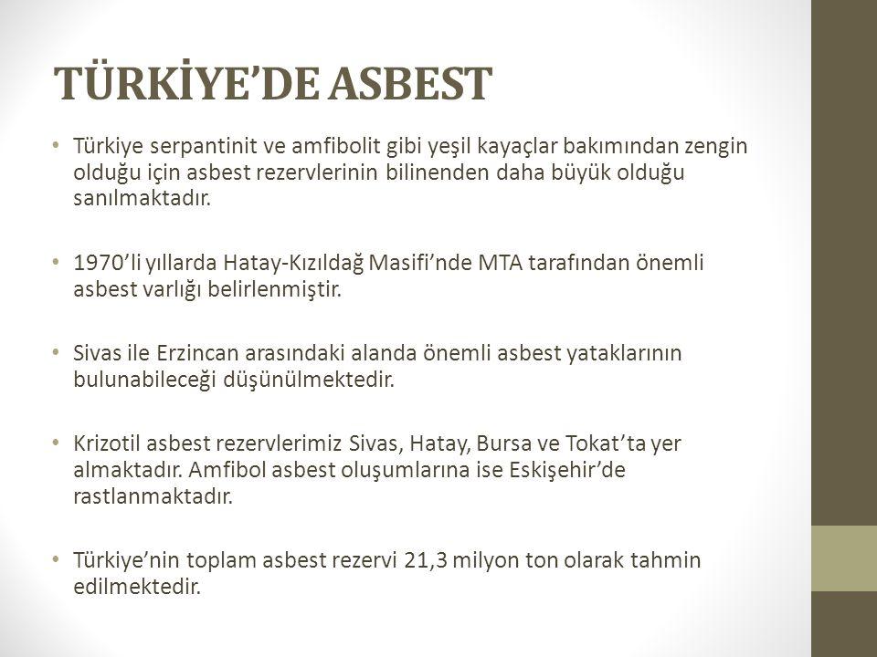 TÜRKİYE'DE ASBEST Türkiye serpantinit ve amfibolit gibi yeşil kayaçlar bakımından zengin olduğu için asbest rezervlerinin bilinenden daha büyük olduğu