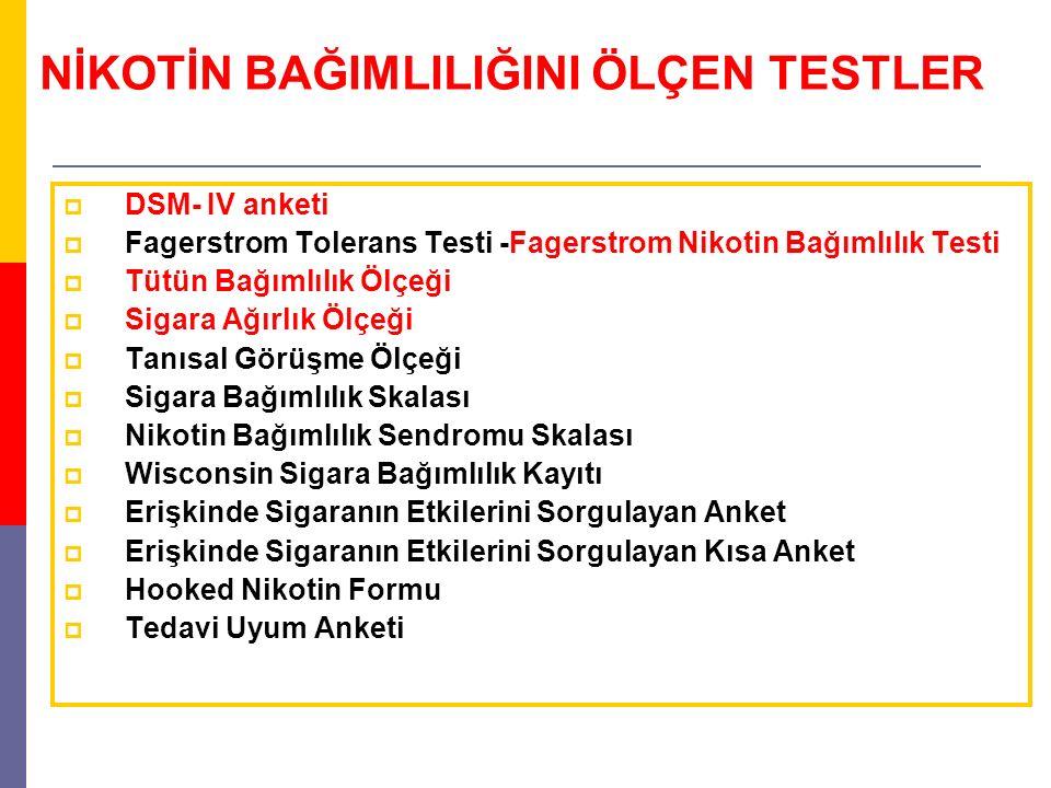 NİKOTİN BAĞIMLILIĞINI ÖLÇEN TESTLER  DSM- IV anketi  Fagerstrom Tolerans Testi -Fagerstrom Nikotin Bağımlılık Testi  Tütün Bağımlılık Ölçeği  Siga