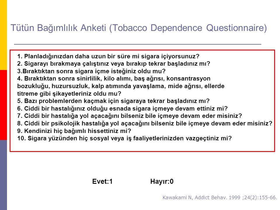 Tütün Bağımlılık Anketi (Tobacco Dependence Questionnaire) 1. Planladığınızdan daha uzun bir süre mi sigara içiyorsunuz? 2. Sigarayı bırakmaya çalıştı