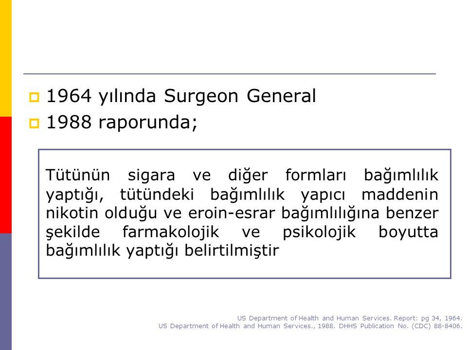  1964 yılında Surgeon General  1988 raporunda; Tütünün sigara ve diğer formları bağımlılık yaptığı, tütündeki bağımlılık yapıcı maddenin nikotin old