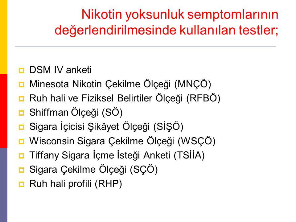 Nikotin yoksunluk semptomlarının değerlendirilmesinde kullanılan testler;  DSM IV anketi  Minesota Nikotin Çekilme Ölçeği (MNÇÖ)  Ruh hali ve Fizik