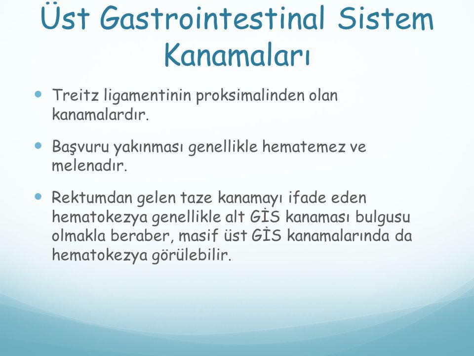 Üst Gastrointestinal Sistem Kanamaları Treitz ligamentinin proksimalinden olan kanamalardır. Başvuru yakınması genellikle hematemez ve melenadır. Rekt