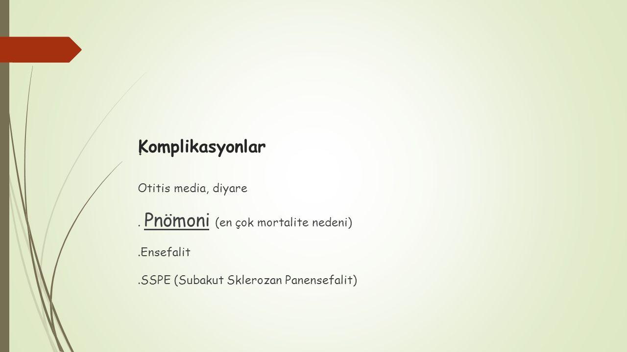 Komplikasyonlar. Otitis media, diyare. Pnömoni (en çok mortalite nedeni).Ensefalit.SSPE (Subakut Sklerozan Panensefalit)