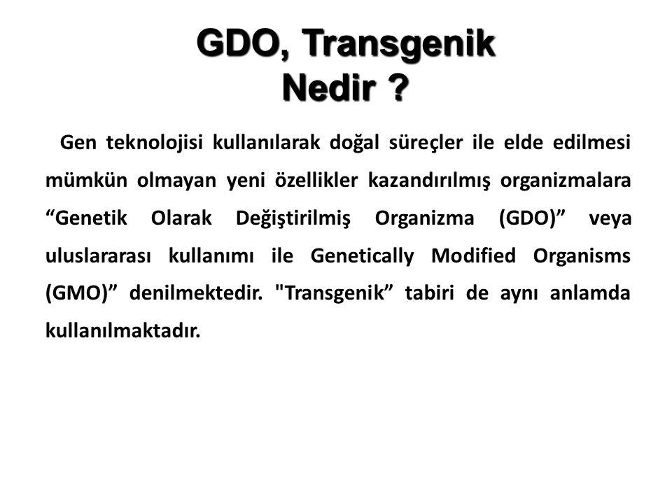"""GDO, Transgenik Nedir ? Gen teknolojisi kullanılarak doğal süreçler ile elde edilmesi mümkün olmayan yeni özellikler kazandırılmış organizmalara """"Gene"""