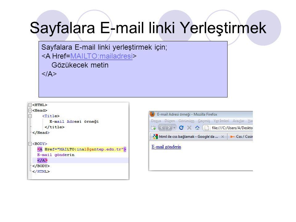 Sayfalara E-mail linki Yerleştirmek Sayfalara E-mail linki yerleştirmek için; MAILTO:mailadresi Gözükecek metin