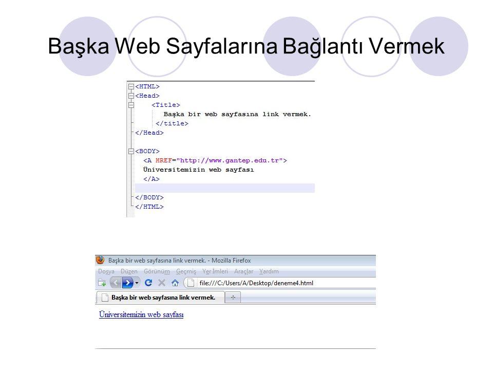 Başka Web Sayfalarına Bağlantı Vermek