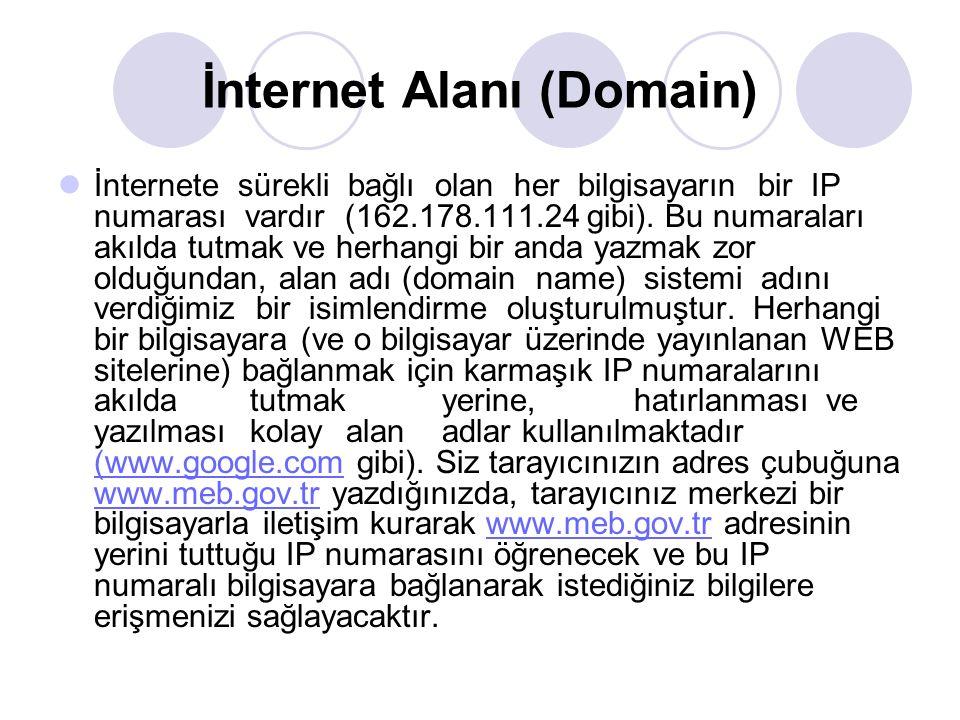 İnternet Alanı (Domain) İnternete sürekli bağlı olan her bilgisayarın bir IP numarası vardır (162.178.111.24 gibi). Bu numaraları akılda tutmak ve her