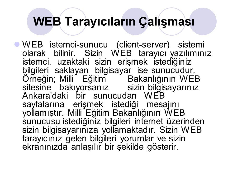 WEB Tarayıcıların Çalışması WEB istemci-sunucu (client-server) sistemi olarak bilinir. Sizin WEB tarayıcı yazılımınız istemci, uzaktaki sizin erişmek