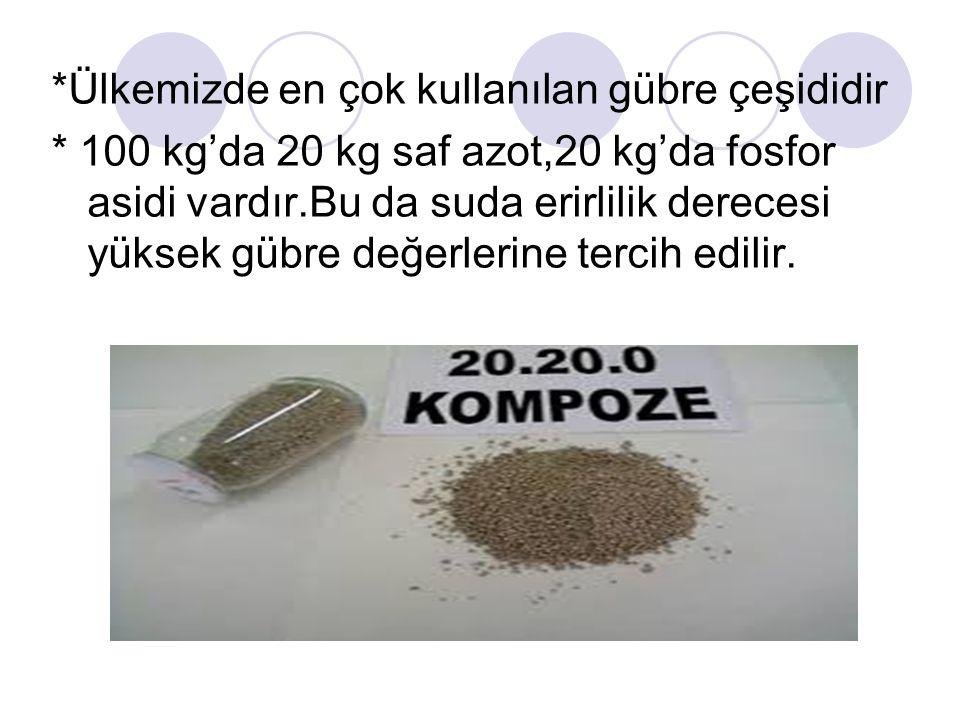 *Ülkemizde en çok kullanılan gübre çeşididir * 100 kg'da 20 kg saf azot,20 kg'da fosfor asidi vardır.Bu da suda erirlilik derecesi yüksek gübre değerl