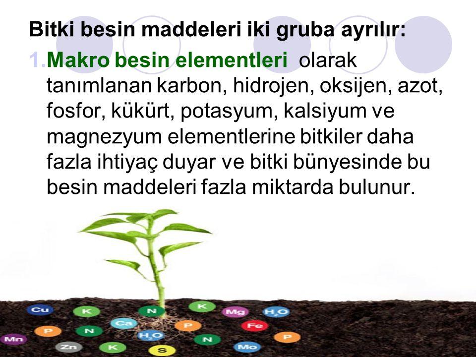 Bitki besin maddeleri iki gruba ayrılır: 1.Makro besin elementleri olarak tanımlanan karbon, hidrojen, oksijen, azot, fosfor, kükürt, potasyum, kalsiyum ve magnezyum elementlerine bitkiler daha fazla ihtiyaç duyar ve bitki bünyesinde bu besin maddeleri fazla miktarda bulunur.