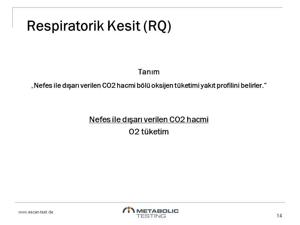 """www.escan-test.de 14 Respiratorik Kesit (RQ) Tanım """"Nefes ile dışarı verilen CO2 hacmi bölü oksijen tüketimi yakıt profilini belirler. Nefes ile dışarı verilen CO2 hacmi O2 tüketim"""