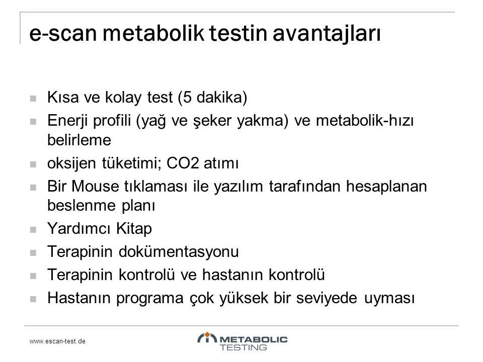 www.escan-test.de e-scan metabolik testin avantajları Kısa ve kolay test (5 dakika) Enerji profili (yağ ve şeker yakma) ve metabolik-hızı belirleme oksijen tüketimi; CO2 atımı Bir Mouse tıklaması ile yazılım tarafından hesaplanan beslenme planı Yardımcı Kitap Terapinin dokümentasyonu Terapinin kontrolü ve hastanın kontrolü Hastanın programa çok yüksek bir seviyede uyması
