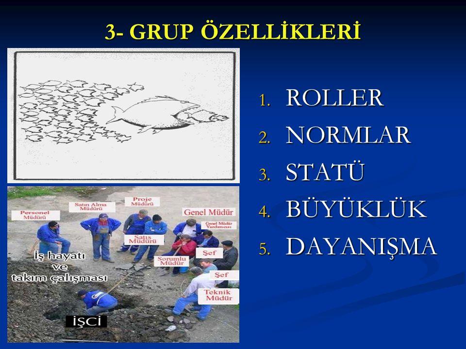 3- GRUP ÖZELLİKLERİ 1. ROLLER 2. NORMLAR 3. STATÜ 4. BÜYÜKLÜK 5. DAYANIŞMA