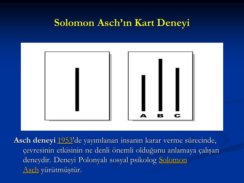 Solomon Asch'ın Kart Deneyi Asch deneyi 1953'de yayımlanan insanın karar verme sürecinde, çevresinin etkisinin ne denli önemli olduğunu anlamaya çalış