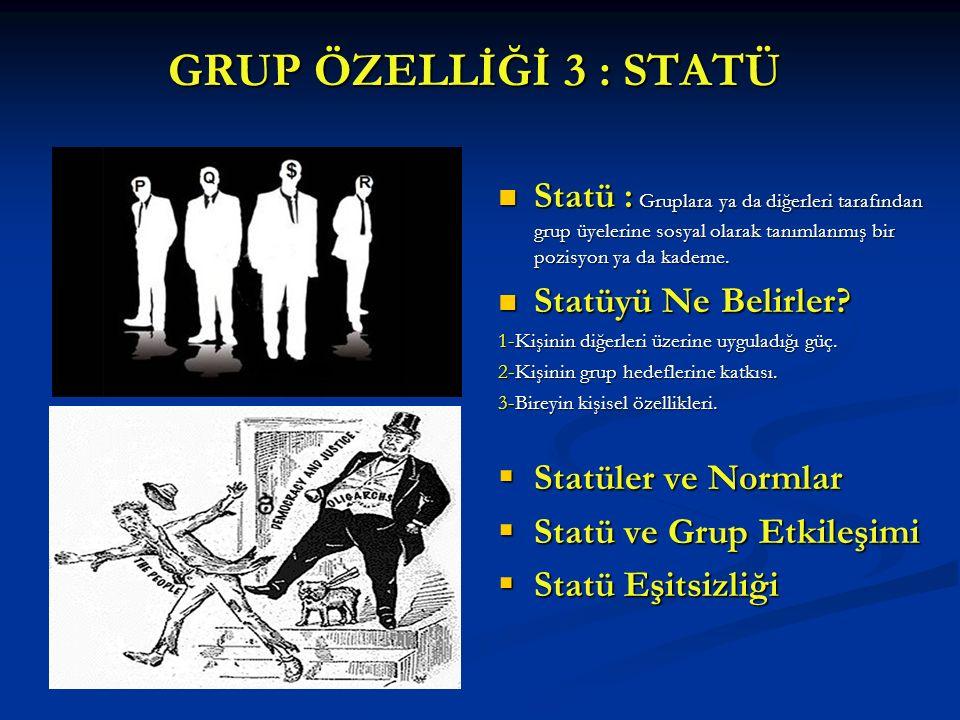 GRUP ÖZELLİĞİ 3 : STATÜ Statü : Gruplara ya da diğerleri tarafından grup üyelerine sosyal olarak tanımlanmış bir pozisyon ya da kademe. Statüyü Ne Bel