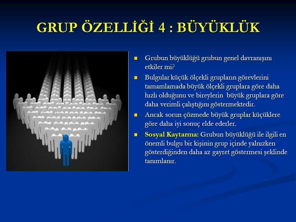 GRUP ÖZELLİĞİ 4 : BÜYÜKLÜK Grubun büyüklüğü grubun genel davranışını etkiler mi? Bulgular küçük ölçekli grupların görevlerini tamamlamada büyük ölçekl