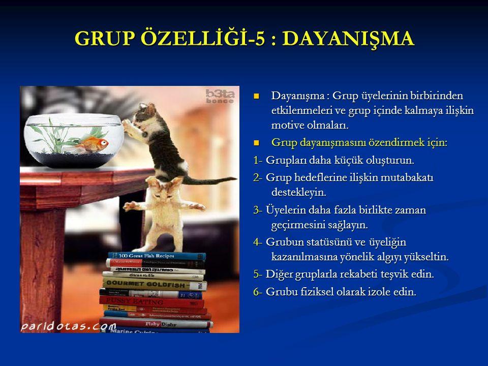 GRUP ÖZELLİĞİ-5 : DAYANIŞMA Dayanışma : Grup üyelerinin birbirinden etkilenmeleri ve grup içinde kalmaya ilişkin motive olmaları. Grup dayanışmasını ö