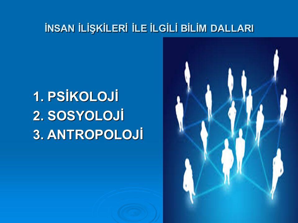 İNSAN İLİŞKİLERİ İLE İLGİLİ BİLİM DALLARI 1. PSİKOLOJİ 2. SOSYOLOJİ 3. ANTROPOLOJİ