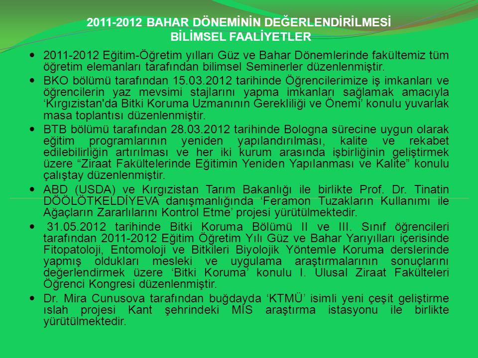 2011-2012 BAHAR DÖNEMİNİN DEĞERLENDİRİLMESİ BİLİMSEL FAALİYETLER 2011-2012 Eğitim-Öğretim yılları Güz ve Bahar Dönemlerinde fakültemiz tüm öğretim ele