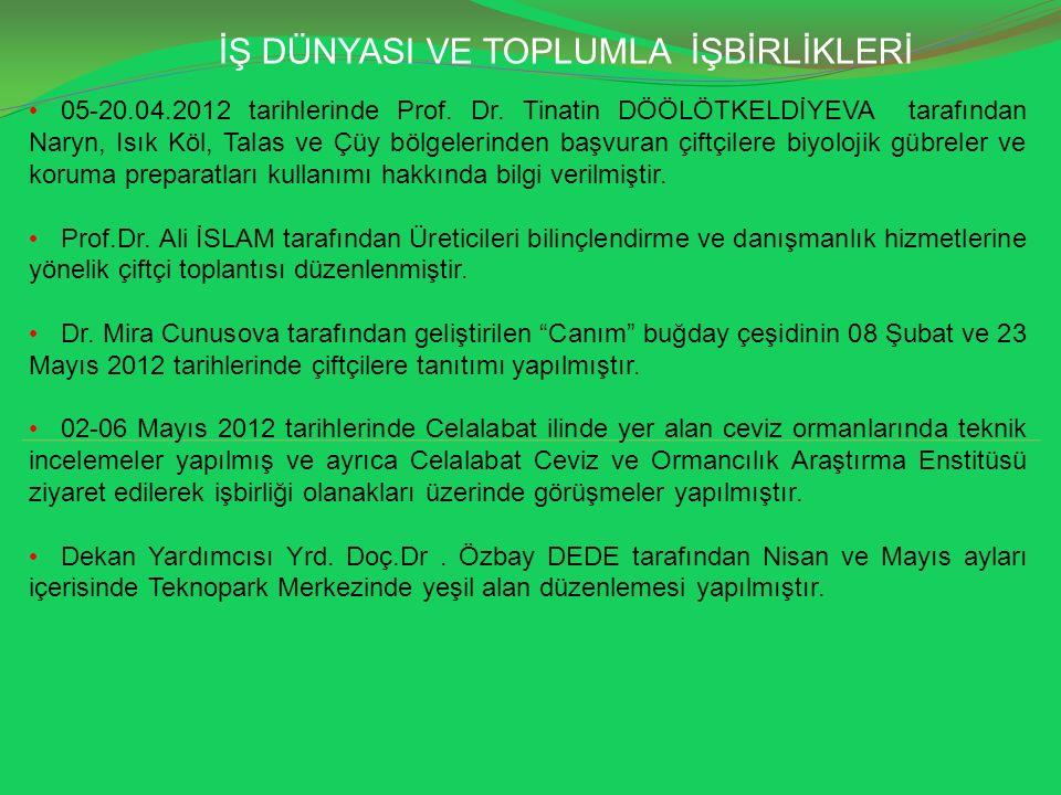 İŞ DÜNYASI VE TOPLUMLA İŞBİRLİKLERİ 05-20.04.2012 tarihlerinde Prof. Dr. Tinatin DÖÖLÖTKELDİYEVA tarafından Naryn, Isık Köl, Talas ve Çüy bölgelerinde